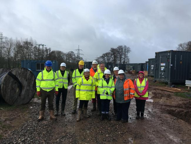 Councillors, Officers And Site Managers At The Battery Storage Facility. CREDIT: Daniel Mumby. Free to use for all BBC wire partners.