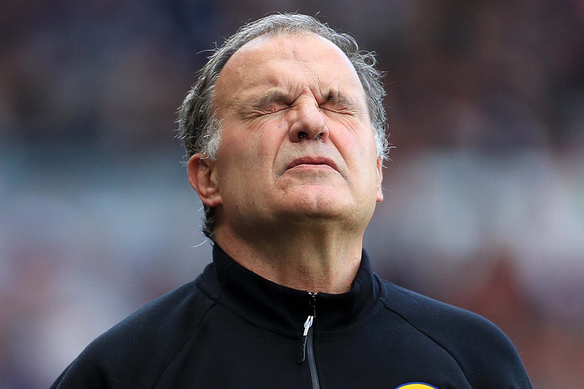 Marcelo Bielsa shows the strain during his side's play-off defeat at Elland Road
